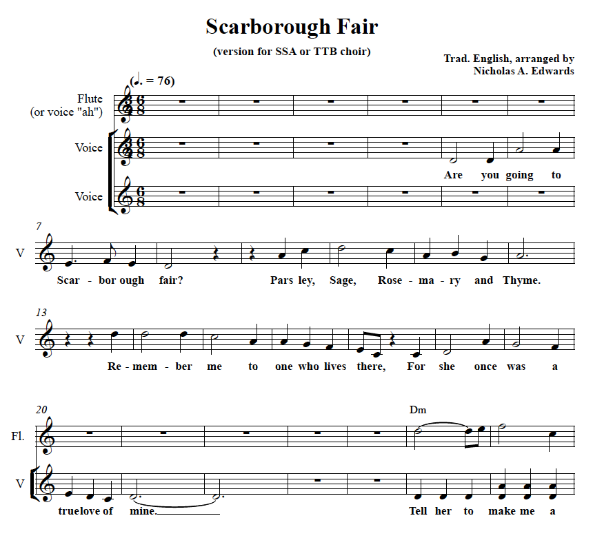 Free Easy Piano Sheet Music Score Scarborough Fair: Folk & Song